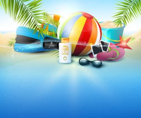 Tropical beach underwater background vector 01
