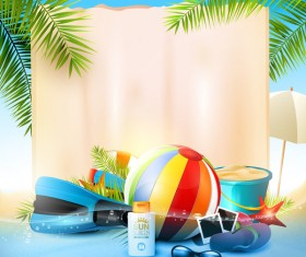 Tropical paradise travel with paper background vector 01