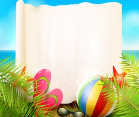 Tropical paradise travel with paper background vector 02