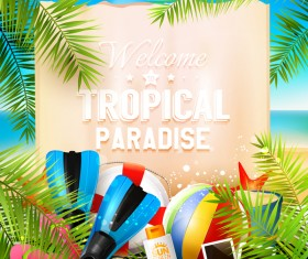 Tropical paradise travel with paper background vector 03
