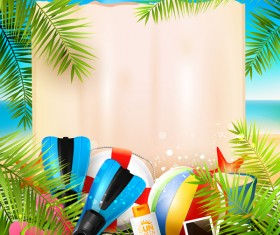 Tropical paradise travel with paper background vector 04