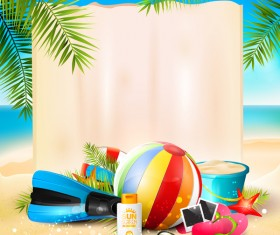 Tropical paradise travel with paper background vector 06