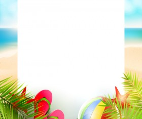 Tropical paradise travel with paper background vector 07