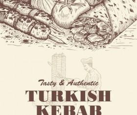 Turkish kebab vintage poster vector