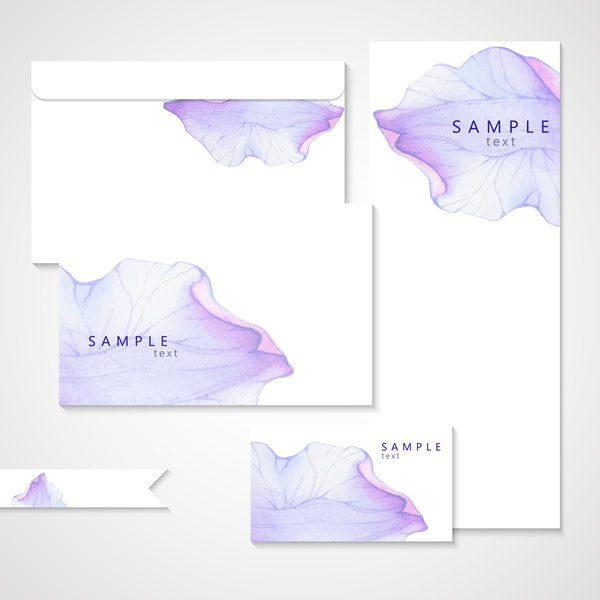 Vector card with watercolor flower petal material 02