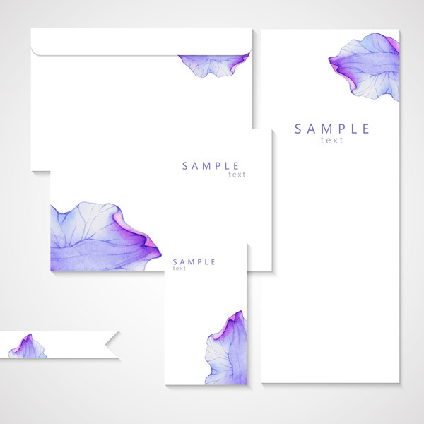 Vector card with watercolor flower petal material 03