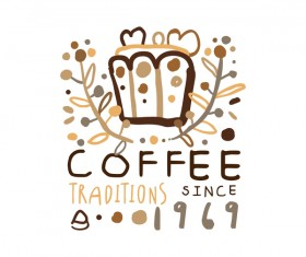 Vintage coffee emblem hand drawing vector 02