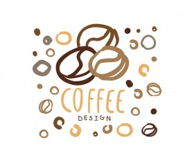 Vintage coffee emblem hand drawing vector 04