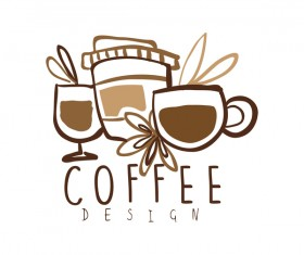 Vintage coffee emblem hand drawing vector 05