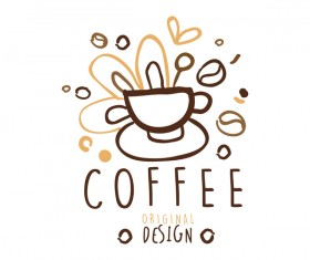 Vintage coffee emblem hand drawing vector 06