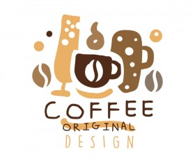 Vintage coffee emblem hand drawing vector 07