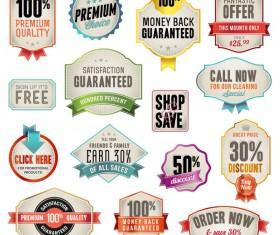 Vintage ribbon labels set vector