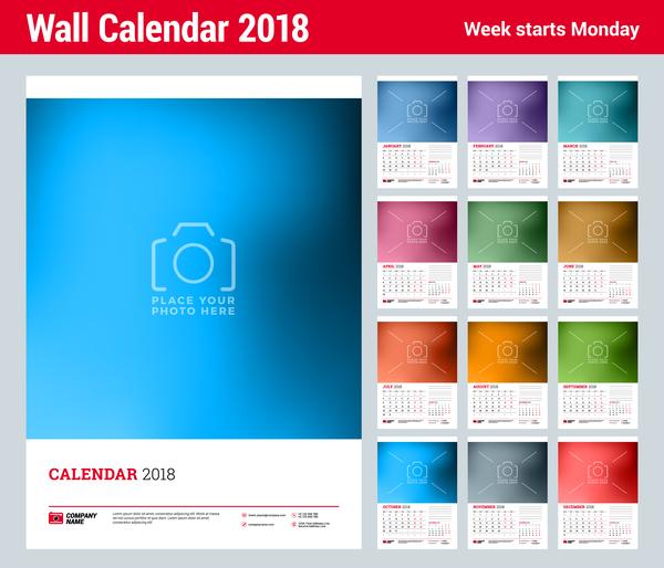 Wall 2018 calendar template vector 01