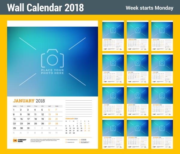 Wall 2018 calendar template vector 02