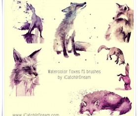 Watercolor Foxes Photoshop Brushes