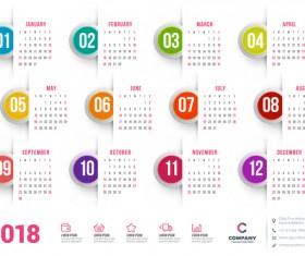 White 2018 company calendar vectors