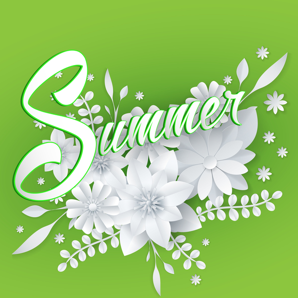White flower with green summer background vector