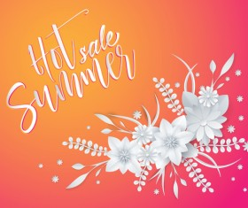 White flower with summer background vector