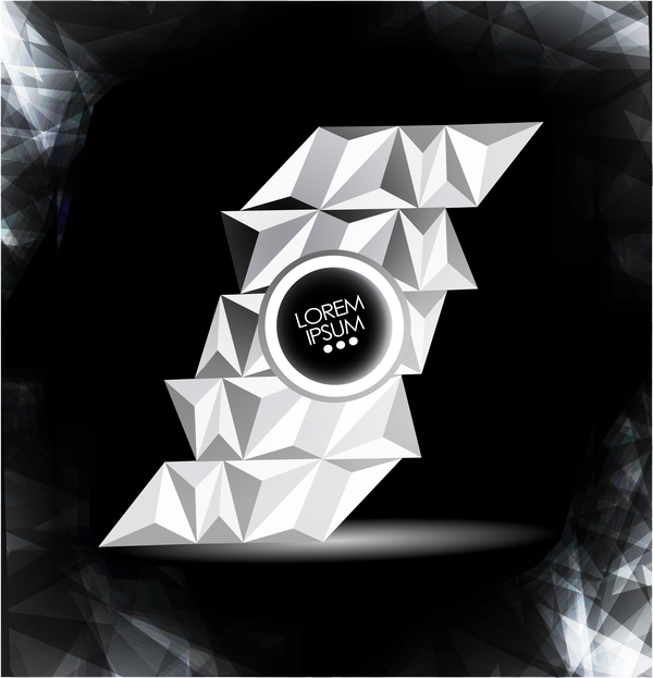 White geometric polygon with black background vector