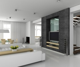 White living room with black TV wall HD picture