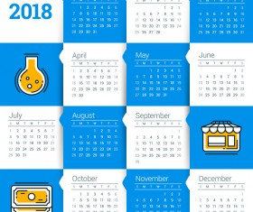 White with blue 2018 calendar template vectors