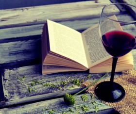 Wine and open book Stock Photo