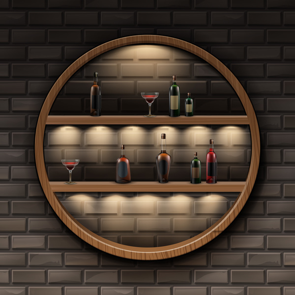 Wine racks interior with wall background design vector
