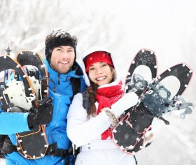 Winter smiling couple hikers Stock Photo