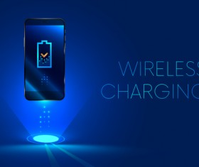 Wireless charging business template design vector