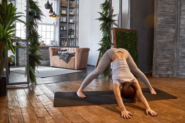 Woman practicing yoga in the living room stock photo 03 for Living room yoga sessions