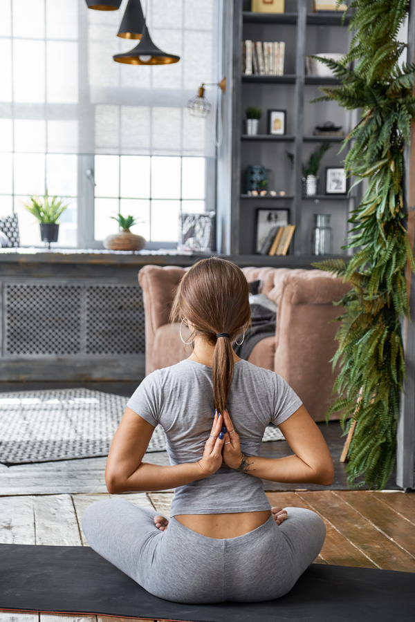 Woman Practicing Yoga In The Living Room Stock Photo 28 People Stock Photo