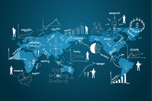 World people infographic vector