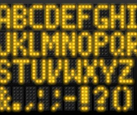 Yellow LED alphabet vector
