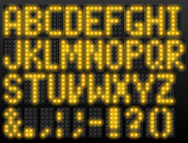 Yellow LED alphabet vector