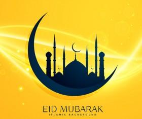 Yellow eid mubarak islamic background vector