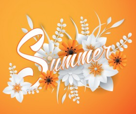 Yellow summer background with flower vector