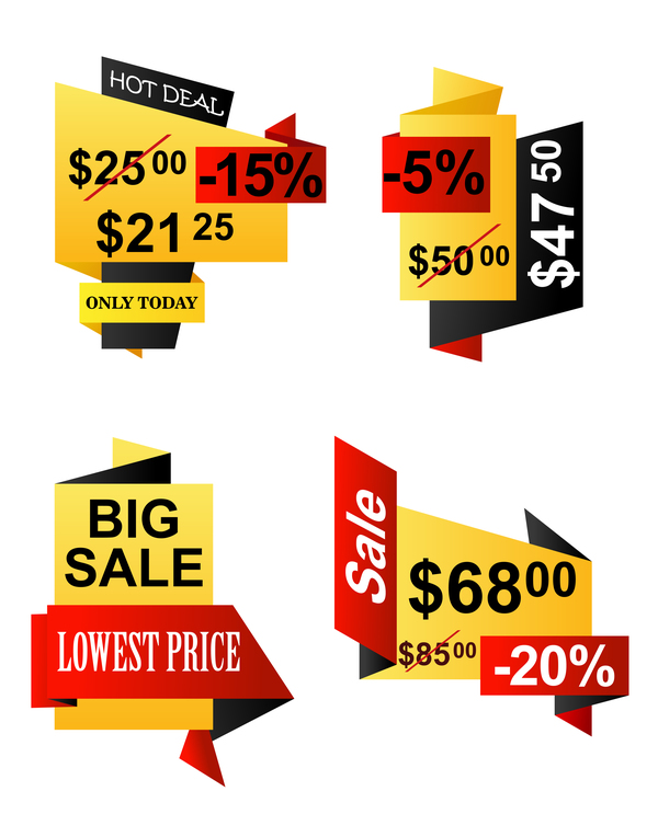 Yellow with red origami sale banners vector