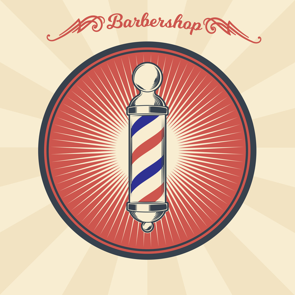barbershop light with retro badge vector 01