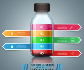 bottle with paper infographic vector