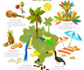 brasil travel with culture design vector
