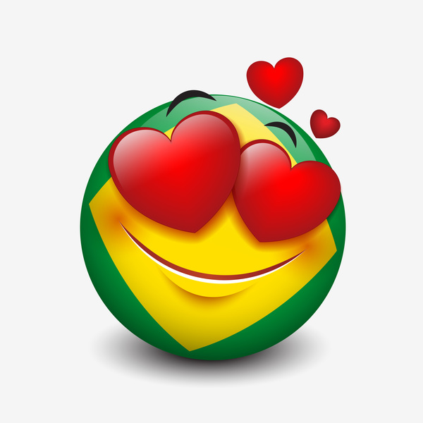 brazil smiley with love icon