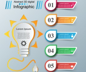 bulb abstract paper infographic vector