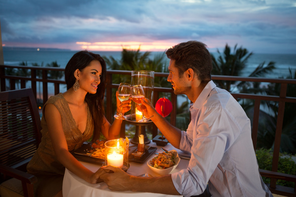 candlelight dinner Stock Photo