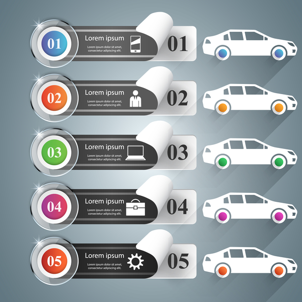 car color infographic vector