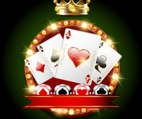 casino background with golden crown vector