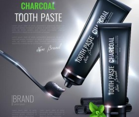 charcoal tooth paste poster template vector
