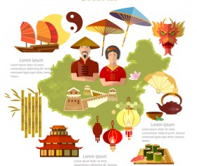 china travel with culture design vector