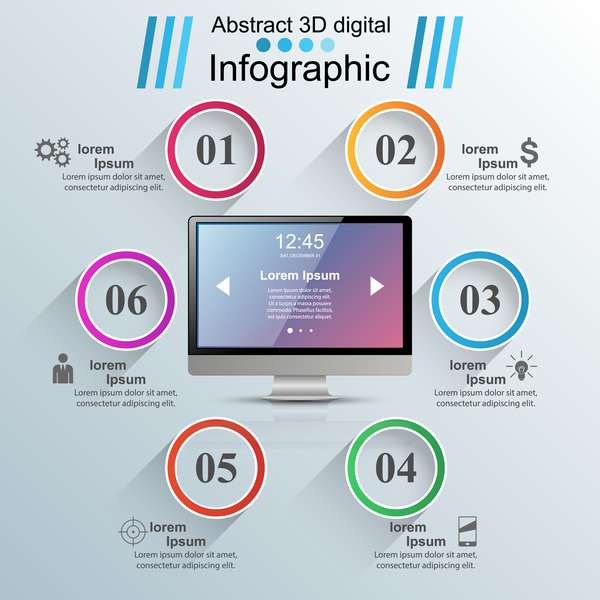 circle monitor infographic vector