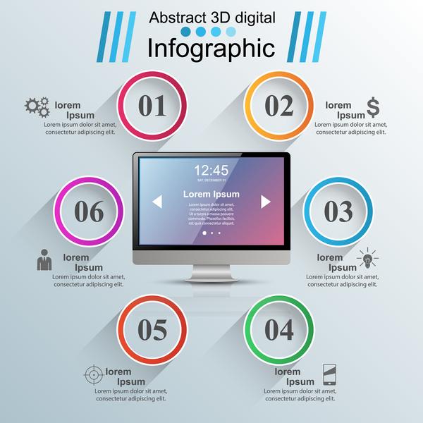 circle monitor infographic vector