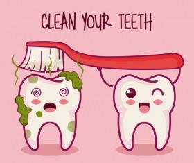 clean teeth cartoon vector